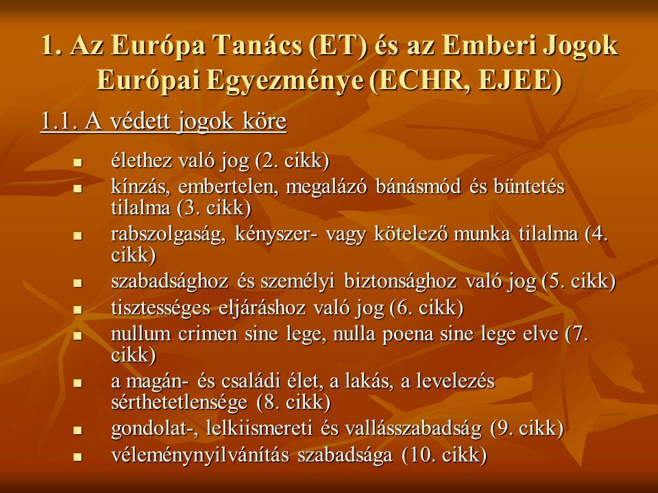 1. Az Európa Tanács (ET) és az Emberi Jogok Európai Egyezménye (ECHR, EJEE) 1.1. A védett jogok köre élethez való jog (2. cikk) élethez való jog (2. c