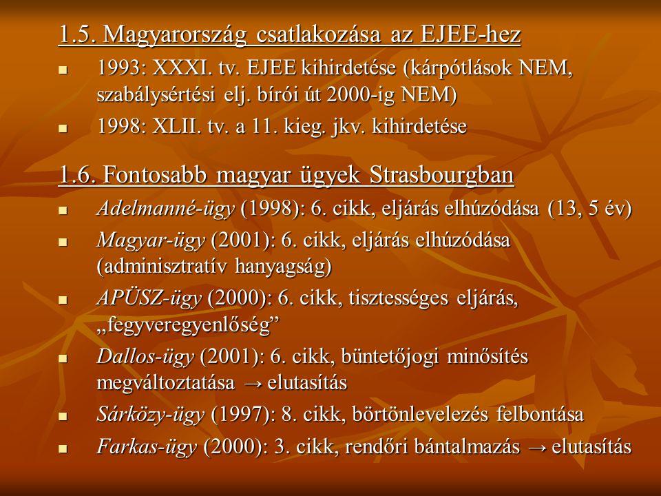 1.5. Magyarország csatlakozása az EJEE-hez 1993: XXXI. tv. EJEE kihirdetése (kárpótlások NEM, szabálysértési elj. bírói út 2000-ig NEM) 1993: XXXI. tv