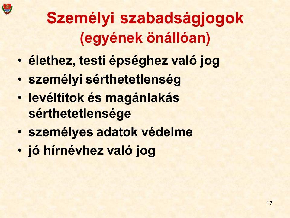 17 Személyi szabadságjogok (egyének önállóan) élethez, testi épséghez való jog személyi sérthetetlenség levéltitok és magánlakás sérthetetlensége szem