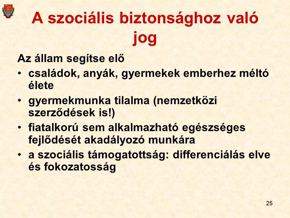 25 A szociális biztonsághoz való jog Az állam segítse elő családok, anyák, gyermekek emberhez méltó élete gyermekmunka tilalma (nemzetközi szerződések