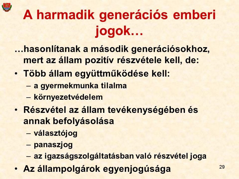 29 A harmadik generációs emberi jogok… …hasonlítanak a második generációsokhoz, mert az állam pozitív részvétele kell, de: Több állam együttműködése k