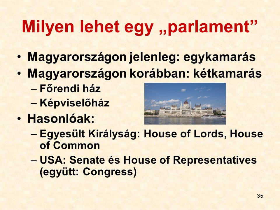 """35 Milyen lehet egy """"parlament"""" Magyarországon jelenleg: egykamarás Magyarországon korábban: kétkamarás –Főrendi ház –Képviselőház Hasonlóak: –Egyesül"""