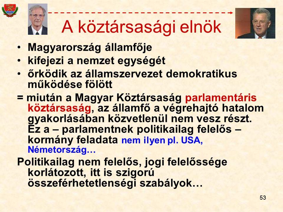 53 A köztársasági elnök Magyarország államfője kifejezi a nemzet egységét őrködik az államszervezet demokratikus működése fölött = miután a Magyar Köz
