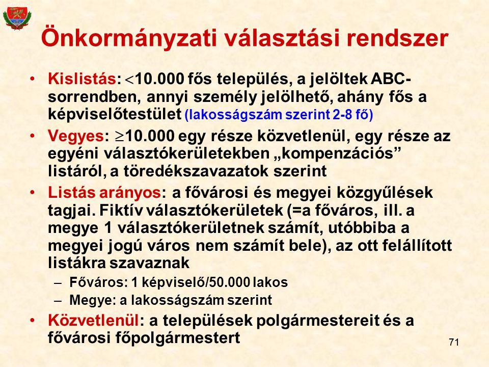 71 Önkormányzati választási rendszer Kislistás:  10.000 fős település, a jelöltek ABC- sorrendben, annyi személy jelölhető, ahány fős a képviselőtest