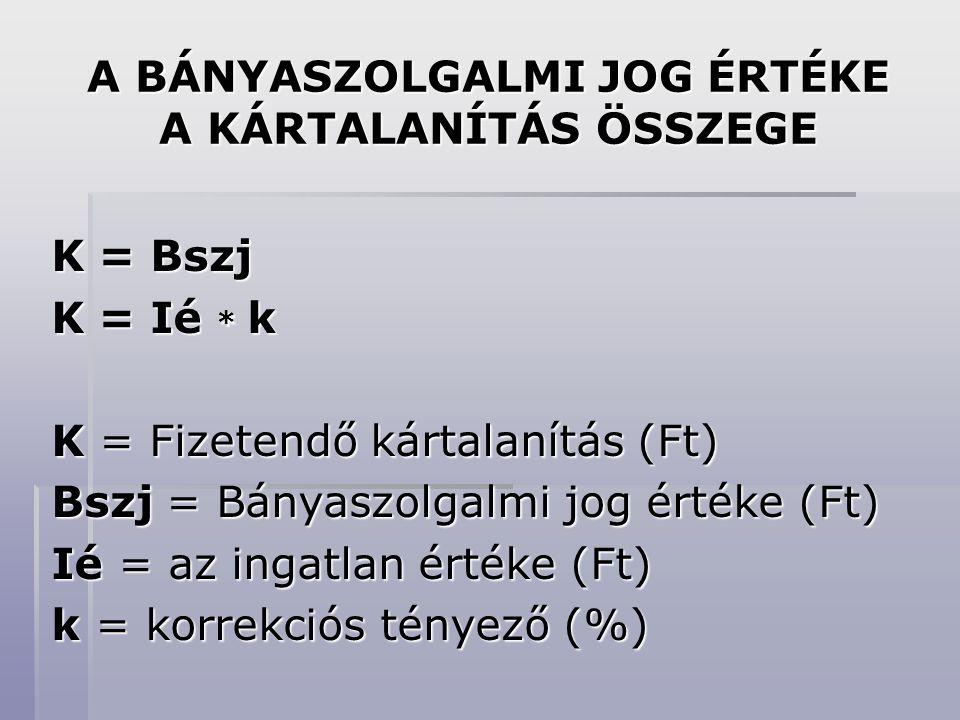A BÁNYASZOLGALMI JOG ÉRTÉKE A KÁRTALANÍTÁS ÖSSZEGE K = Bszj K = Ié * k K = Fizetendő kártalanítás (Ft) Bszj = Bányaszolgalmi jog értéke (Ft) Ié = az ingatlan értéke (Ft) k = korrekciós tényező (%)