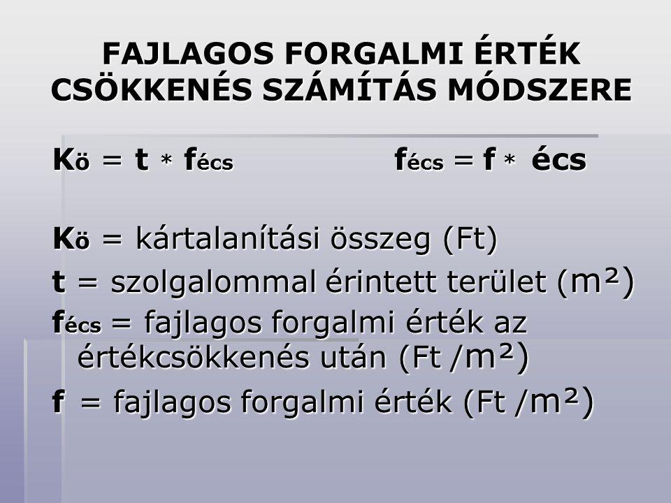 FAJLAGOS FORGALMI ÉRTÉK CSÖKKENÉS SZÁMÍTÁS MÓDSZERE K ö = t * f écs f écs = f * écs K ö = kártalanítási összeg (Ft) t = szolgalommal érintett terület ( m²) f écs = fajlagos forgalmi érték az értékcsökkenés után (Ft / m²) f = fajlagos forgalmi érték (Ft / m²)