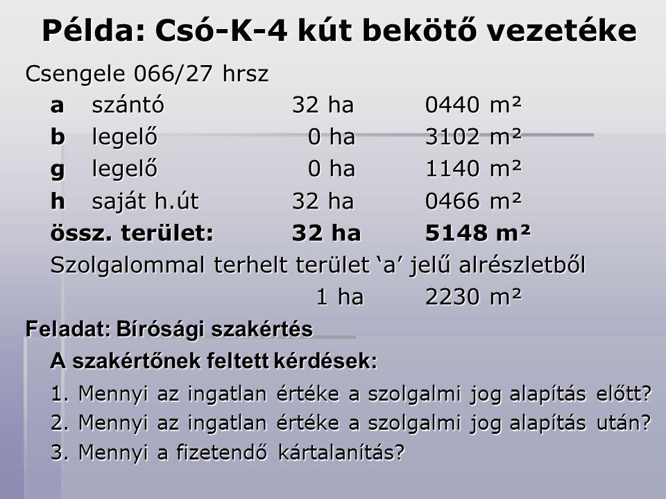 Példa: Csó-K-4 kút bekötő vezetéke Csengele 066/27 hrsz a szántó 32 ha 0440 m² b legelő 0 ha3102 m² g legelő 0 ha1140 m² h saját h.út 32 ha 0466 m² össz.