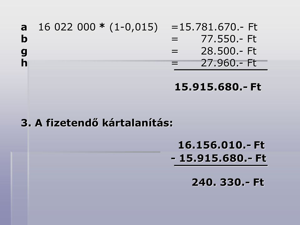 a 16 022 000 * (1-0,015) =15.781.670.- Ft b = 77.550.- Ft g = 28.500.- Ft h = 27.960.- Ft ¯¯¯¯¯¯¯¯¯¯¯¯¯ ¯¯¯¯¯¯¯¯¯¯¯¯¯ 15.915.680.- Ft 15.915.680.- Ft