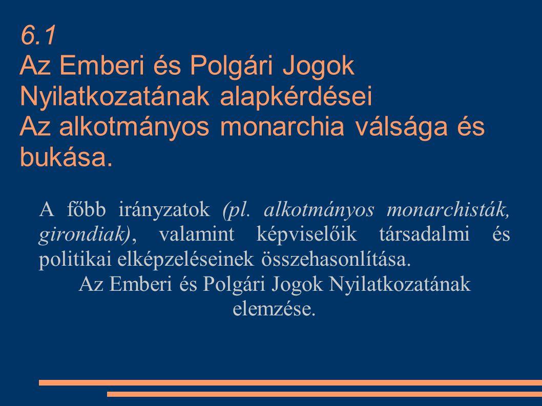 6.1 Az Emberi és Polgári Jogok Nyilatkozatának alapkérdései Az alkotmányos monarchia válsága és bukása. A főbb irányzatok (pl. alkotmányos monarchistá