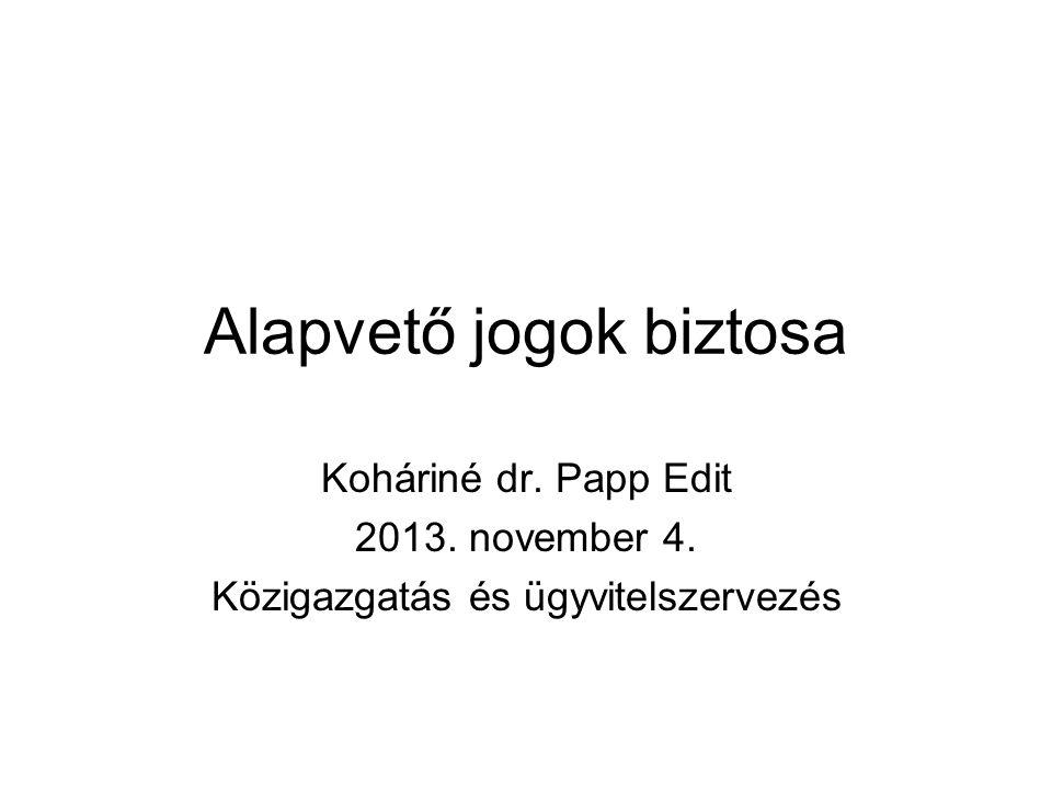 Alapvető jogok biztosa Koháriné dr. Papp Edit 2013. november 4. Közigazgatás és ügyvitelszervezés