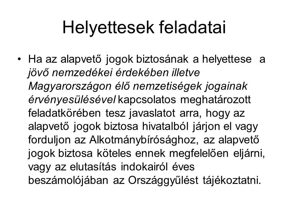 Helyettesek feladatai Ha az alapvető jogok biztosának a helyettese a jövő nemzedékei érdekében illetve Magyarországon élő nemzetiségek jogainak érvény