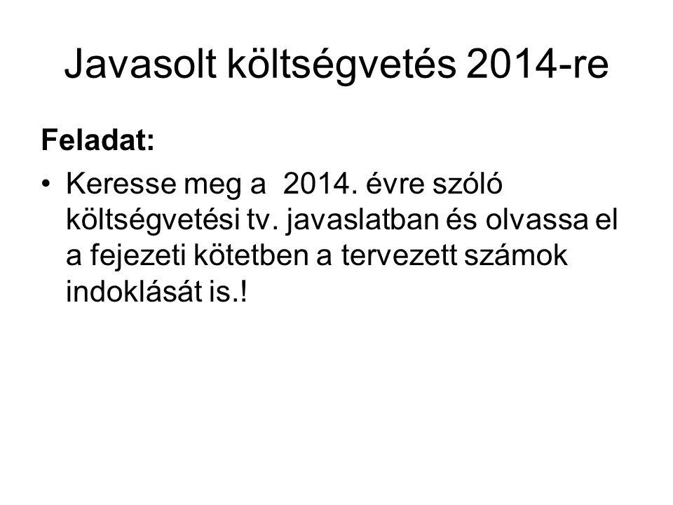 Javasolt költségvetés 2014-re Feladat: Keresse meg a 2014. évre szóló költségvetési tv. javaslatban és olvassa el a fejezeti kötetben a tervezett szám