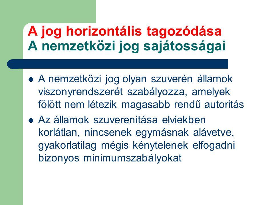 A jog horizontális tagozódása A nemzetközi jog sajátosságai A nemzetközi jog olyan szuverén államok viszonyrendszerét szabályozza, amelyek fölött nem