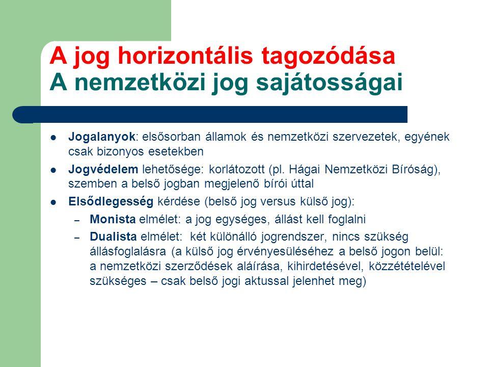 A jog horizontális tagozódása A nemzetközi jog sajátosságai Jogalanyok: elsősorban államok és nemzetközi szervezetek, egyének csak bizonyos esetekben Jogvédelem lehetősége: korlátozott (pl.