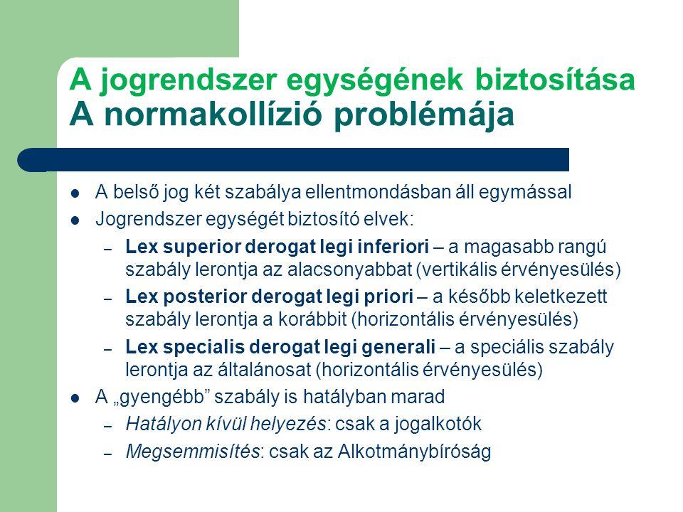 """A jogrendszer egységének biztosítása A normakollízió problémája A belső jog két szabálya ellentmondásban áll egymással Jogrendszer egységét biztosító elvek: – Lex superior derogat legi inferiori – a magasabb rangú szabály lerontja az alacsonyabbat (vertikális érvényesülés) – Lex posterior derogat legi priori – a később keletkezett szabály lerontja a korábbit (horizontális érvényesülés) – Lex specialis derogat legi generali – a speciális szabály lerontja az általánosat (horizontális érvényesülés) A """"gyengébb szabály is hatályban marad – Hatályon kívül helyezés: csak a jogalkotók – Megsemmisítés: csak az Alkotmánybíróság"""