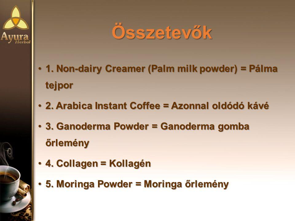Összetevők Összetevők 1.Non-dairy Creamer (Palm milk powder) = Pálma tejpor1.