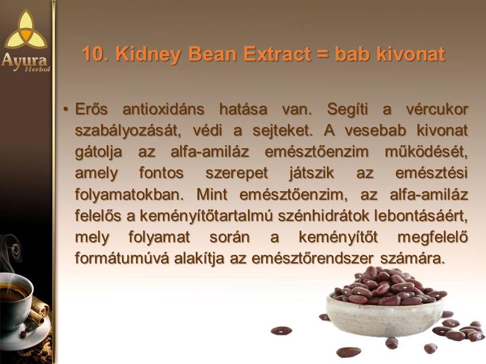 10.Kidney Bean Extract = bab kivonat Erős antioxidáns hatása van.