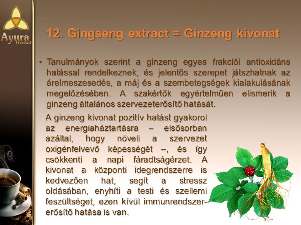 12. Gingseng extract = Ginzeng kivonat Tanulmányok szerint a ginzeng egyes frakciói antioxidáns hatással rendelkeznek, és jelentős szerepet játszhatna