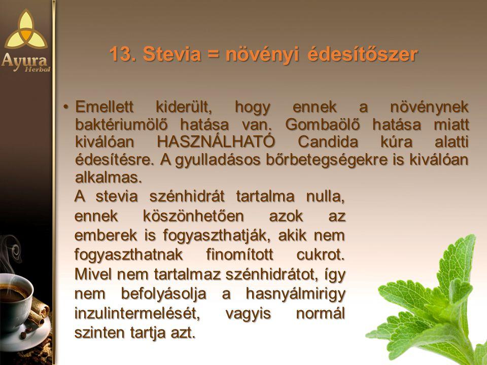 13.Stevia = növényi édesítőszer Emellett kiderült, hogy ennek a növénynek baktériumölő hatása van.