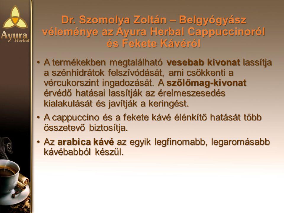 Dr. Szomolya Zoltán – Belgyógyász véleménye az Ayura Herbal Cappuccinoról és Fekete Kávéról A termékekben megtalálható vesebab kivonat lassítja a szén