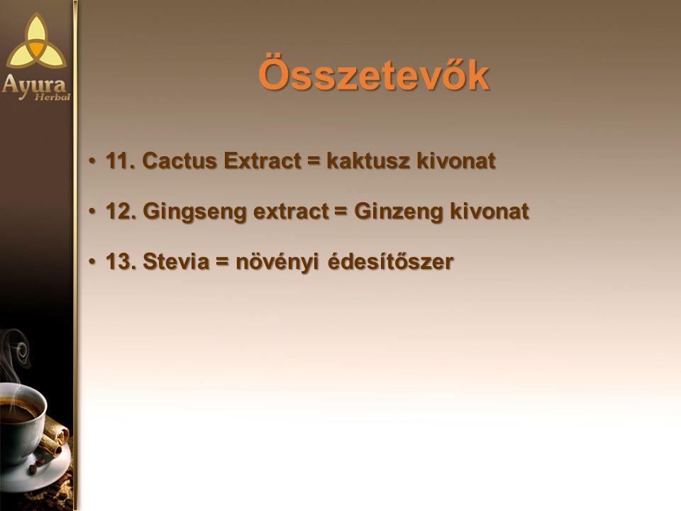 Összetevők Összetevők 11.Cactus Extract = kaktusz kivonat11.