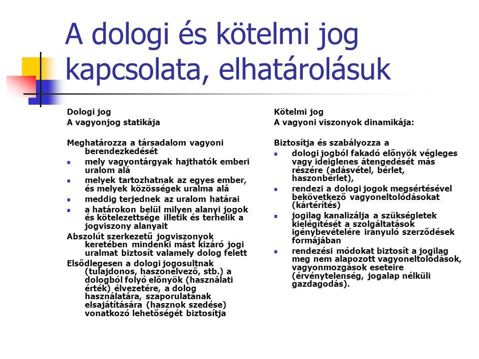 A dologi és kötelmi jog kapcsolata, elhatárolásuk Dologi jog A vagyonjog statikája Meghatározza a társadalom vagyoni berendezkedését mely vagyontárgya