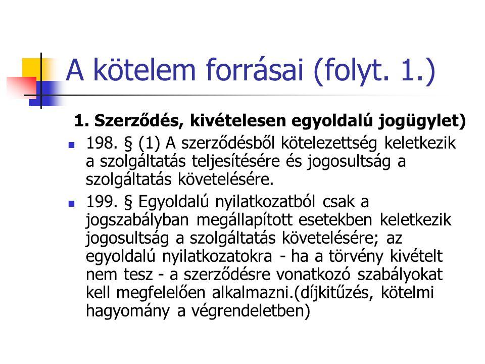 A kötelem forrásai (folyt.1.) 1. Szerződés, kivételesen egyoldalú jogügylet) 198.