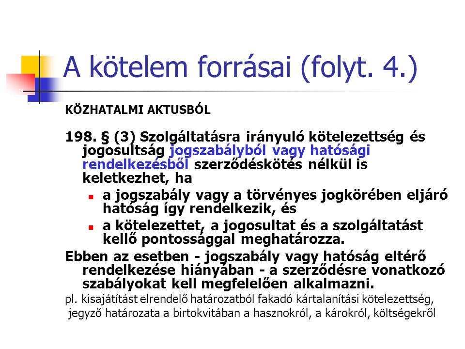 A kötelem forrásai (folyt.4.) KÖZHATALMI AKTUSBÓL 198.