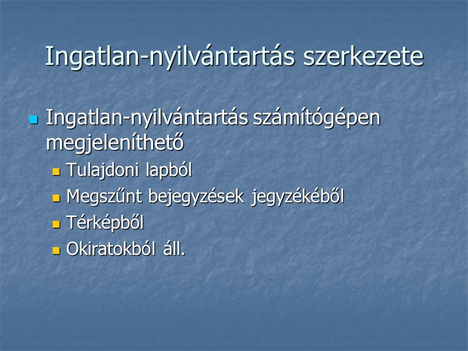Ingatlan-nyilvántartás szerkezete Ingatlan-nyilvántartás számítógépen megjeleníthető Ingatlan-nyilvántartás számítógépen megjeleníthető Tulajdoni lapból Tulajdoni lapból Megszűnt bejegyzések jegyzékéből Megszűnt bejegyzések jegyzékéből Térképből Térképből Okiratokból áll.