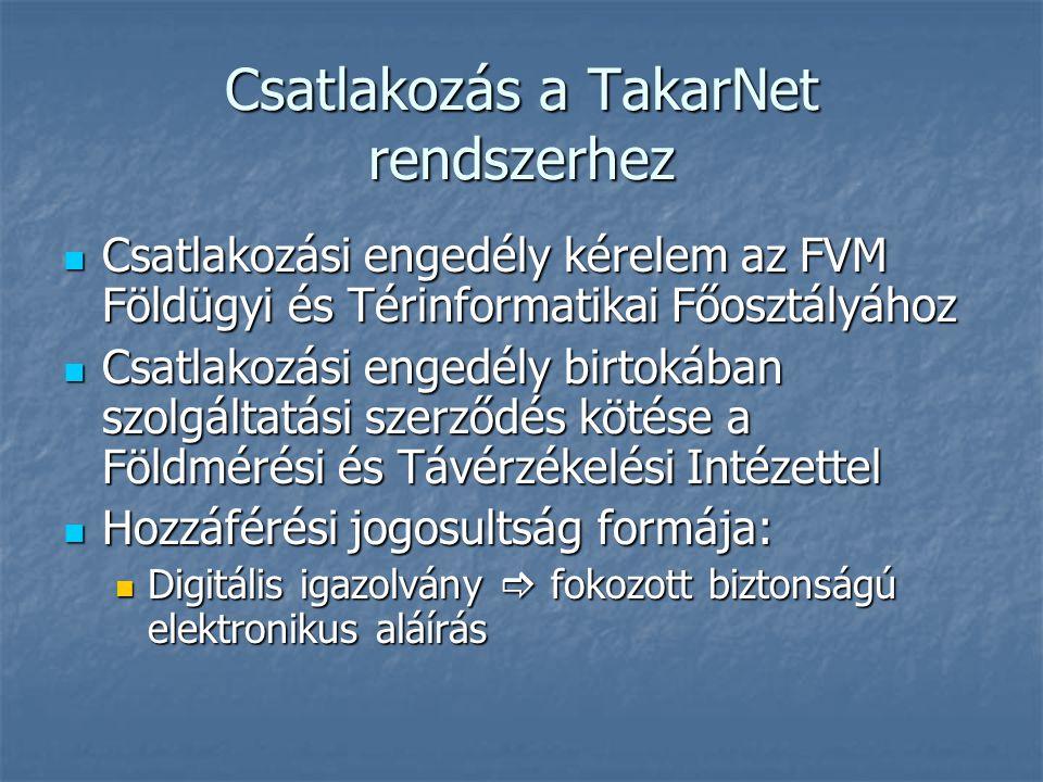 Csatlakozás a TakarNet rendszerhez Csatlakozási engedély kérelem az FVM Földügyi és Térinformatikai Főosztályához Csatlakozási engedély kérelem az FVM Földügyi és Térinformatikai Főosztályához Csatlakozási engedély birtokában szolgáltatási szerződés kötése a Földmérési és Távérzékelési Intézettel Csatlakozási engedély birtokában szolgáltatási szerződés kötése a Földmérési és Távérzékelési Intézettel Hozzáférési jogosultság formája: Hozzáférési jogosultság formája: Digitális igazolvány  fokozott biztonságú elektronikus aláírás Digitális igazolvány  fokozott biztonságú elektronikus aláírás