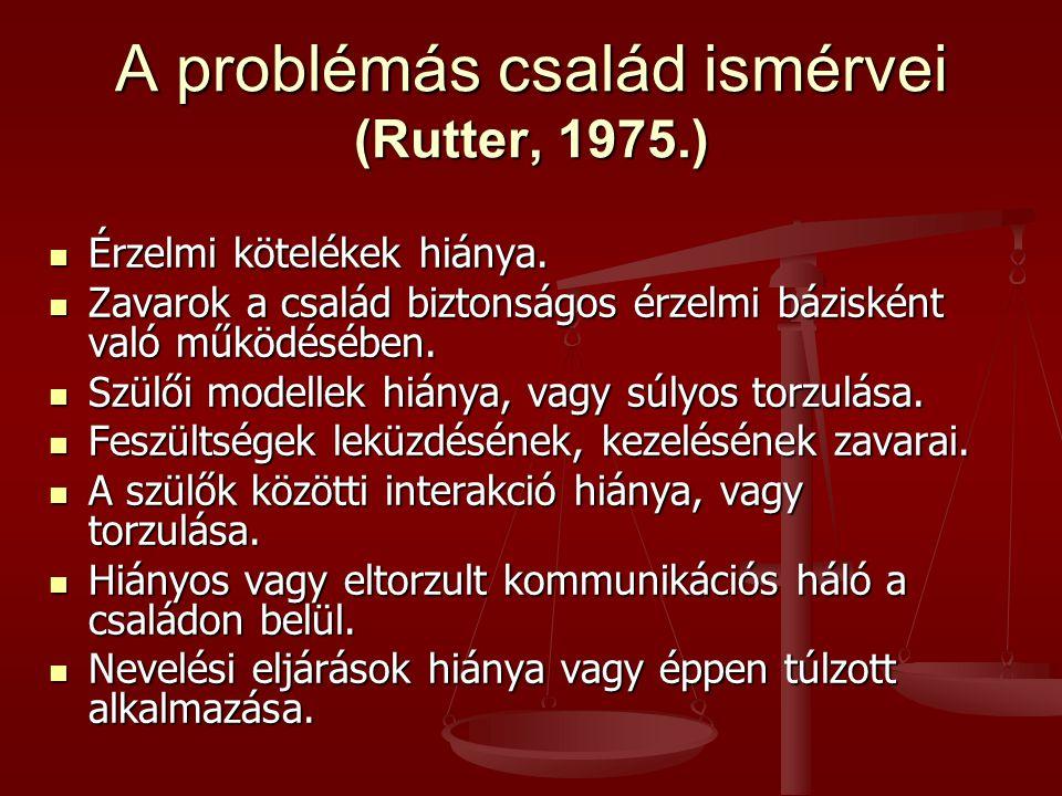 A problémás család ismérvei (Rutter, 1975.) Érzelmi kötelékek hiánya. Érzelmi kötelékek hiánya. Zavarok a család biztonságos érzelmi bázisként való mű