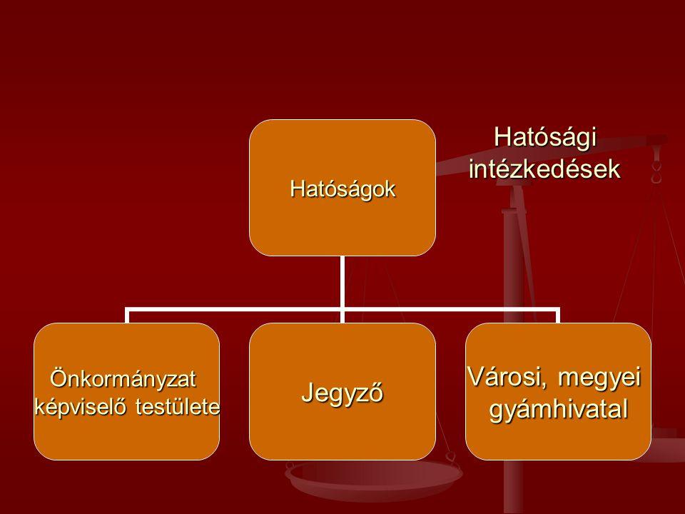 Hatóságok Önkormányzat képviselő testülete Jegyző Városi, megyei gyámhivatal Hatósági intézkedések