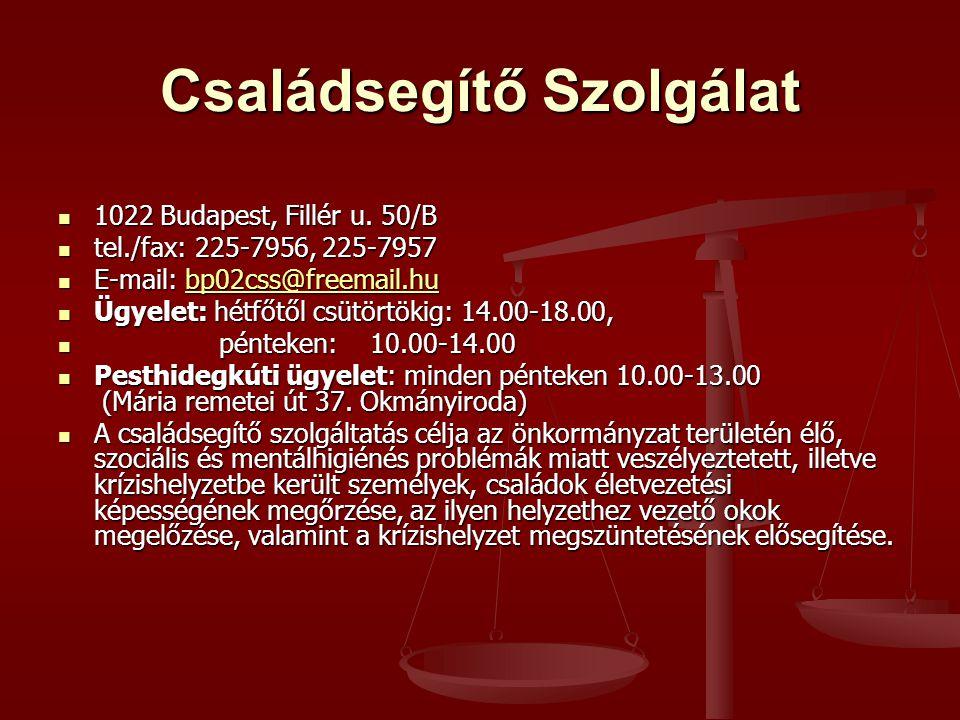Családsegítő Szolgálat 1022 Budapest, Fillér u. 50/B 1022 Budapest, Fillér u. 50/B tel./fax: 225-7956, 225-7957 tel./fax: 225-7956, 225-7957 E-mail: b