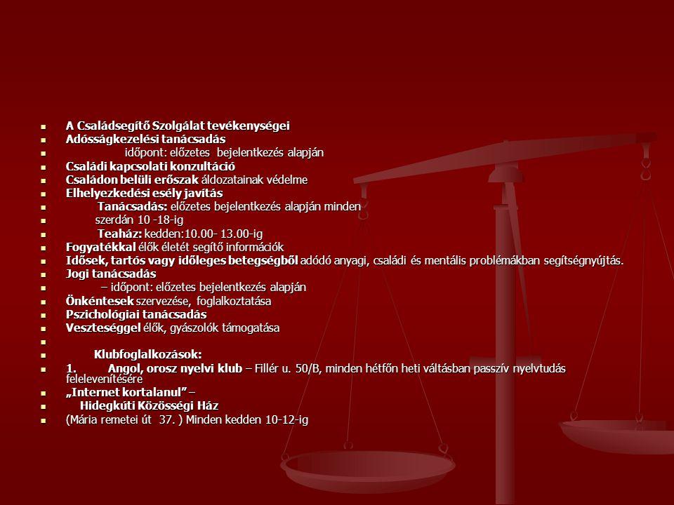 A Családsegítő Szolgálat tevékenységei A Családsegítő Szolgálat tevékenységei Adósságkezelési tanácsadás Adósságkezelési tanácsadás időpont: előzetes