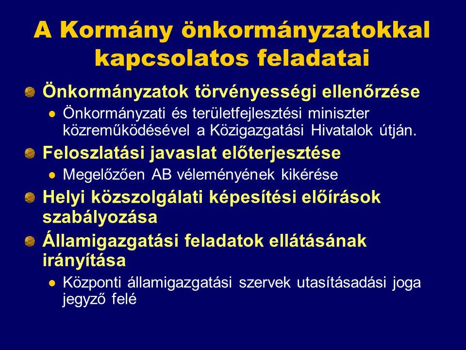 A Kormány önkormányzatokkal kapcsolatos feladatai Önkormányzatok törvényességi ellenőrzése Önkormányzati és területfejlesztési miniszter közreműködésé
