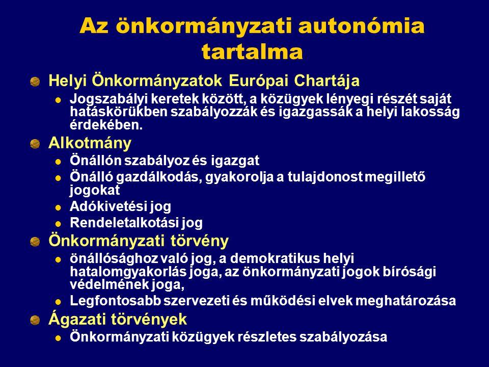 Az önkormányzati autonómia tartalma Helyi Önkormányzatok Európai Chartája Jogszabályi keretek között, a közügyek lényegi részét saját hatáskörükben sz