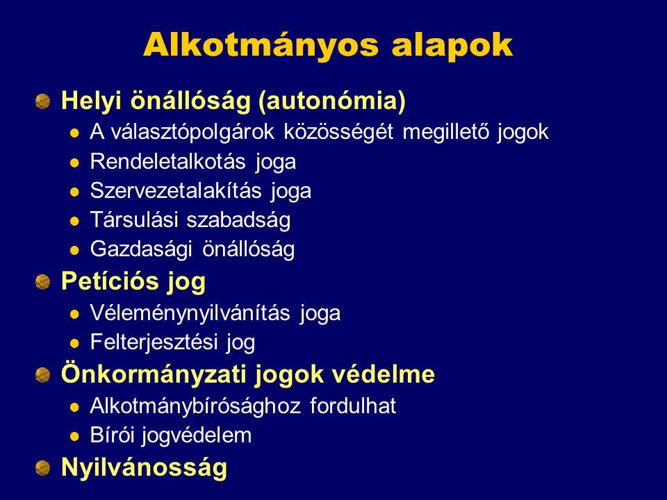 Alkotmányos alapok Helyi önállóság (autonómia) A választópolgárok közösségét megillető jogok Rendeletalkotás joga Szervezetalakítás joga Társulási sza