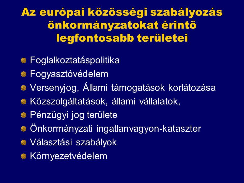 Az európai közösségi szabályozás önkormányzatokat érintő legfontosabb területei Foglalkoztatáspolitika Fogyasztóvédelem Versenyjog, Állami támogatások