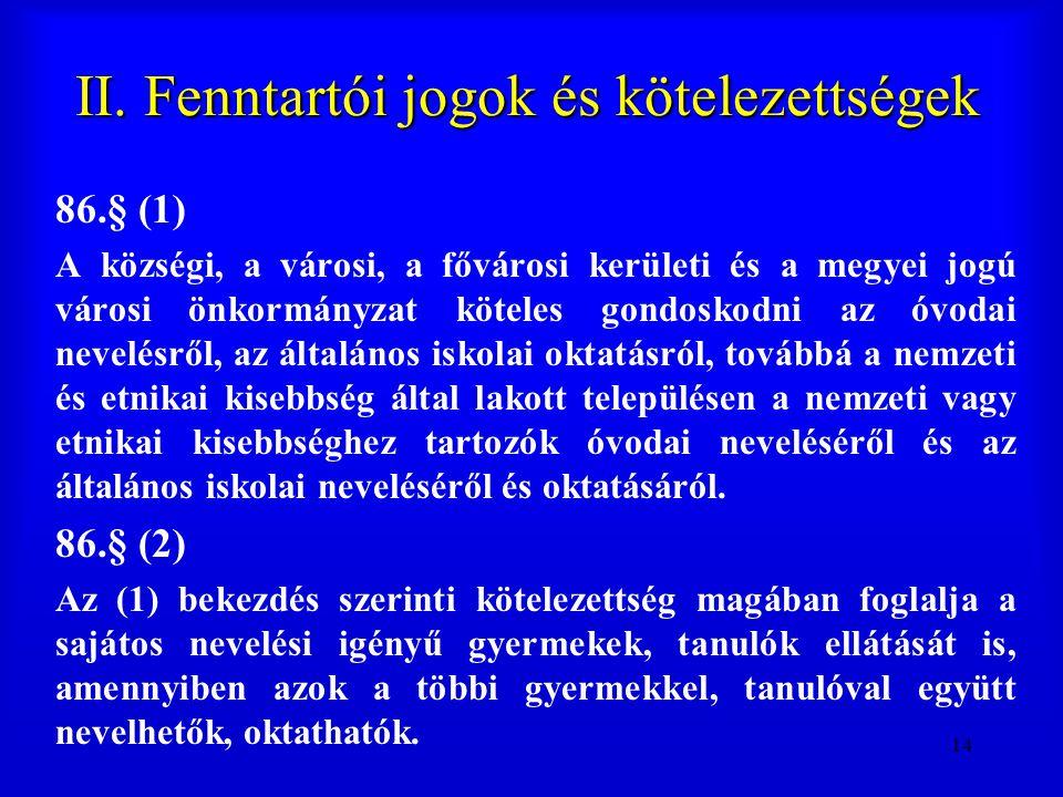 14 II. Fenntartói jogok és kötelezettségek 86.§ (1) A községi, a városi, a fővárosi kerületi és a megyei jogú városi önkormányzat köteles gondoskodni