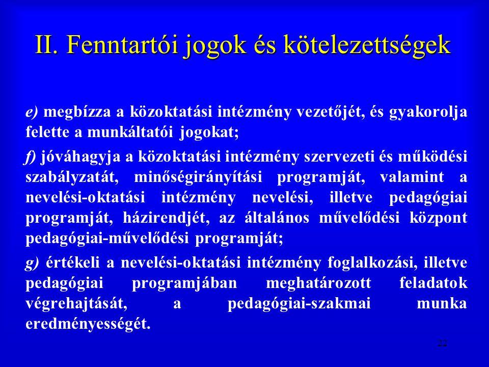 22 II. Fenntartói jogok és kötelezettségek e) megbízza a közoktatási intézmény vezetőjét, és gyakorolja felette a munkáltatói jogokat; f) jóváhagyja a