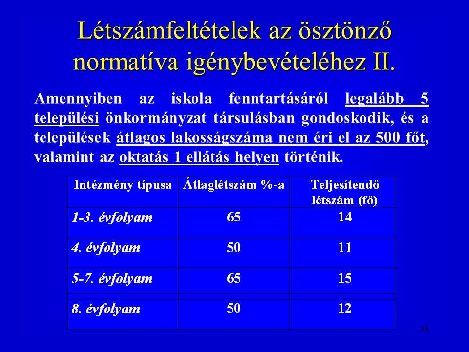 38 Létszámfeltételek az ösztönző normatíva igénybevételéhez II. Amennyiben az iskola fenntartásáról legalább 5 települési önkormányzat társulásban gon