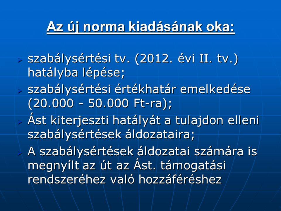 Az új norma kiadásának oka:  szabálysértési tv. (2012. évi II. tv.) hatályba lépése;  szabálysértési értékhatár emelkedése (20.000 - 50.000 Ft-ra);