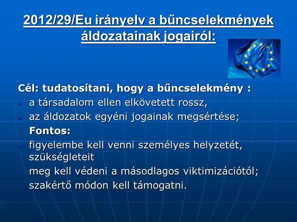 2012/29/Eu irányelv a bűncselekmények áldozatainak jogairól: Cél: tudatosítani, hogy a bűncselekmény :  a társadalom ellen elkövetett rossz,  az áld