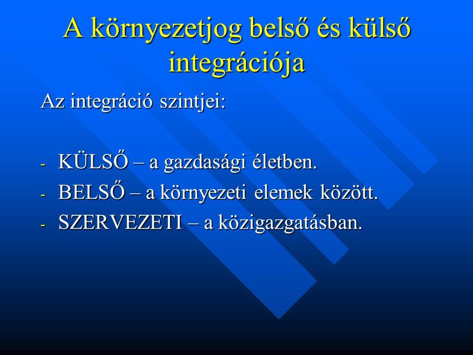 A környezetjog belső és külső integrációja Az integráció szintjei: - KÜLSŐ – a gazdasági életben.