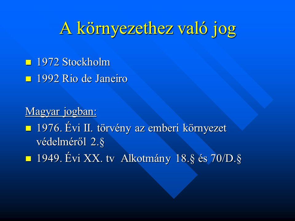 A környezethez való jog 1972 Stockholm 1972 Stockholm 1992 Rio de Janeiro 1992 Rio de Janeiro Magyar jogban: 1976.