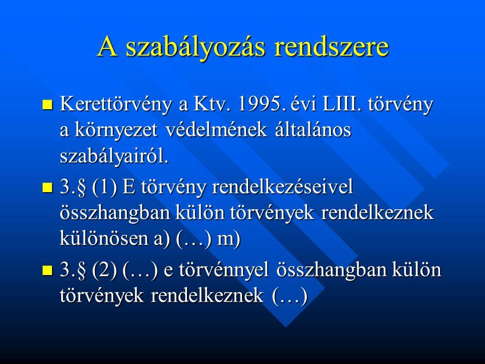 A szabályozás rendszere Kerettörvény a Ktv. 1995.