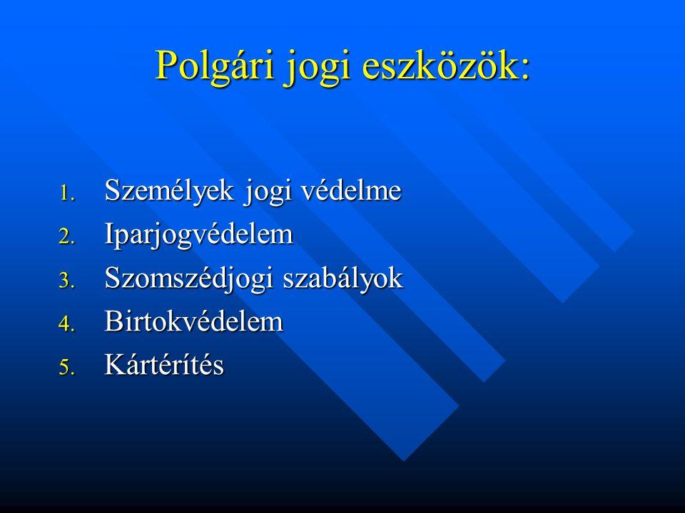 Polgári jogi eszközök: 1. Személyek jogi védelme 2.