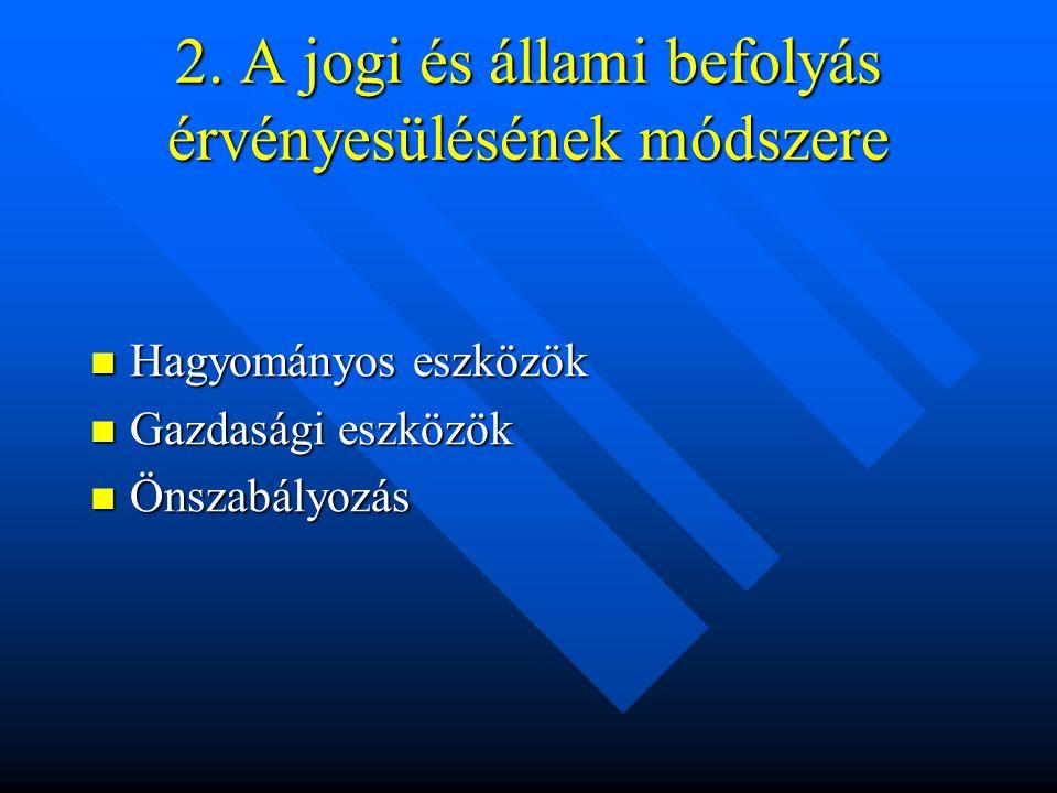 2. A jogi és állami befolyás érvényesülésének módszere Hagyományos eszközök Hagyományos eszközök Gazdasági eszközök Gazdasági eszközök Önszabályozás Ö