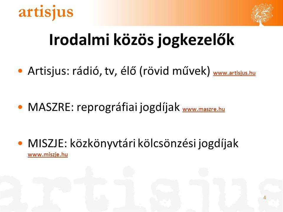 Irodalmi közös jogkezelők Artisjus: rádió, tv, élő (rövid művek) www.artisjus.hu www.artisjus.hu MASZRE: reprográfiai jogdíjak www.maszre.hu www.maszr