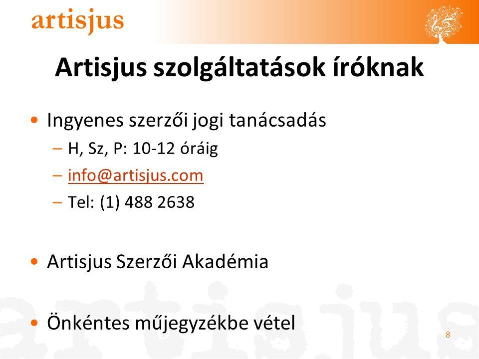 Artisjus szolgáltatások íróknak Ingyenes szerzői jogi tanácsadás –H, Sz, P: 10-12 óráig –info@artisjus.cominfo@artisjus.com –Tel: (1) 488 2638 Artisjus Szerzői Akadémia Önkéntes műjegyzékbe vétel 8